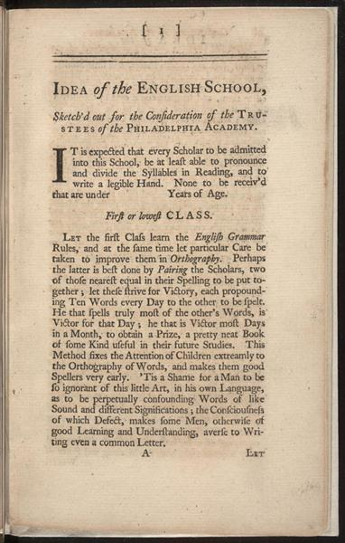 "the place of penn benjamin franklin ""founder"" constitutions of the public academy franklin idea of the english school"