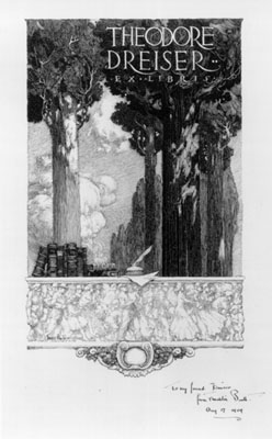 Dreiser library bookplate